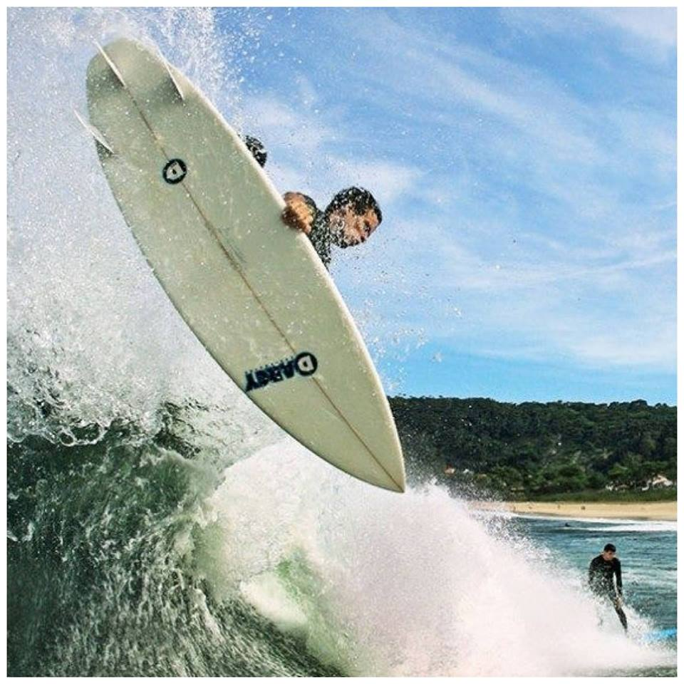 Ricardo Lange - with a nice aerial on a Darcy surfboard!