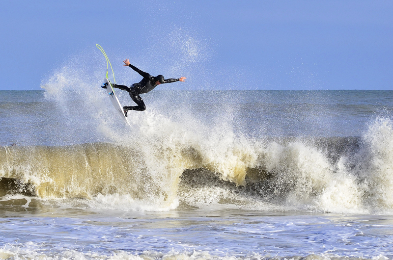 Sam Hammer with an impressive aerial at Point Pleasant, New Jersey - © Matthew Lang