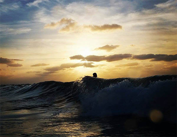 Sunset surf in Morocco