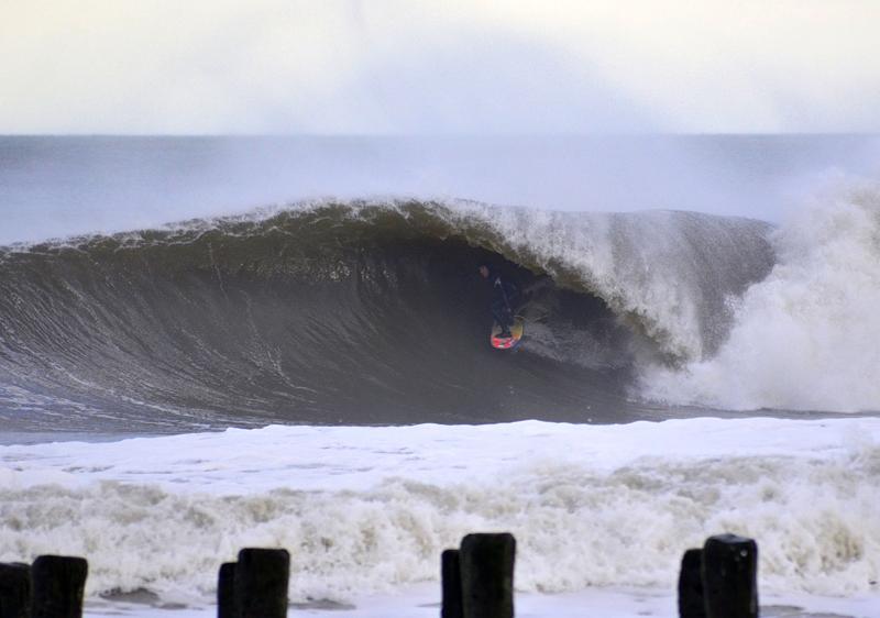 Brian Robinson with a beautiful wave at Bayhead, New Jersey © Matthew Lang
