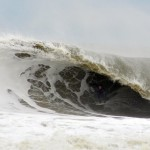 Clay Pollioni surfing a massive wave at Bayhead, New Jersey - © Matthew Lang