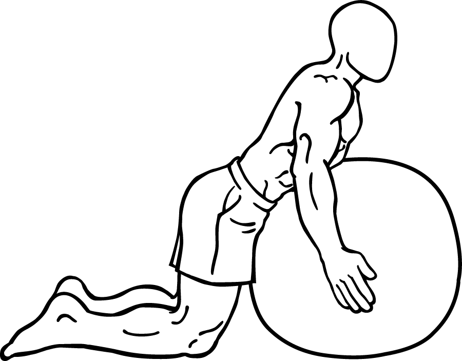 Back exercise for surfers: Extension on stability ball.